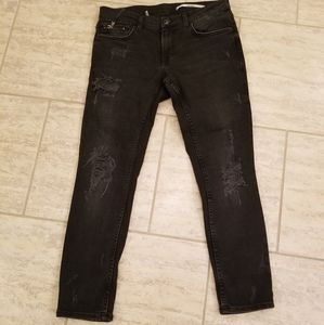 Zara black distressed jeans